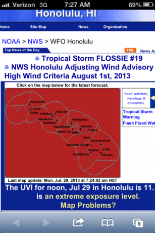 NOAA's warnings for Flossie