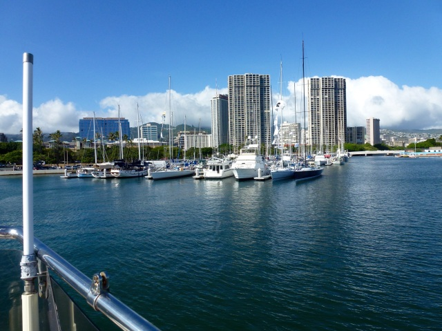 Goodbye to the Ala Wai, the Waikiki Yacht Club, and our favorite boat neighbor, Brandon.
