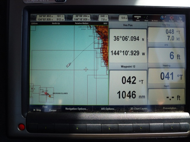 The trusty Raymarine gives us lots of numbers to mull over.