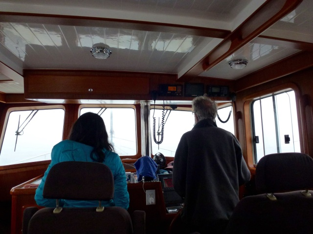 Navigating the Juan de Fuca in the fog.