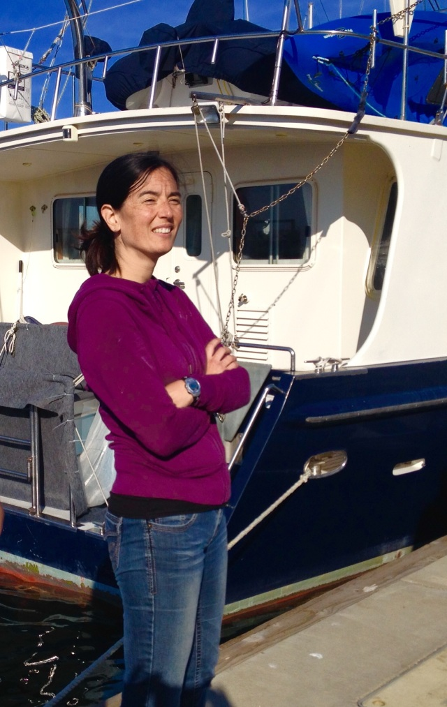 After 20 days at sea, Naomi stepping off in Port Angeles.